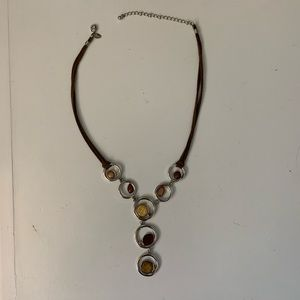 Lia Sophia necklace, leather and silver tone